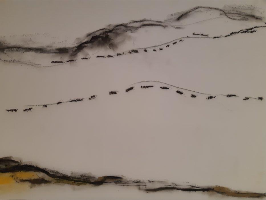 Cormorants2, mixed media, 18×24, 2018