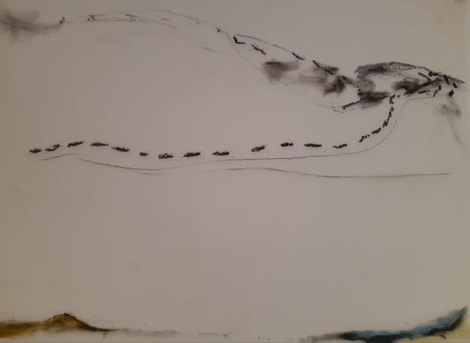 Cormorants3, mixed media, 18×24, 2018