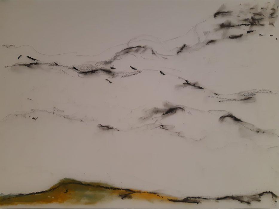 Cormorants5, mixed media, 18×24, 2018
